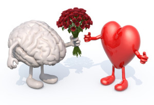 brain hands her a bouquet of roses to a heart